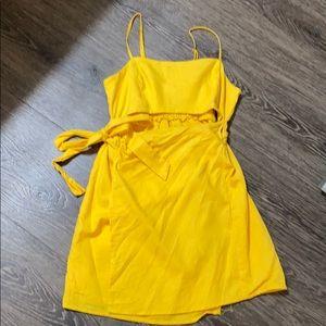 Yellow cut-out wrap sundress